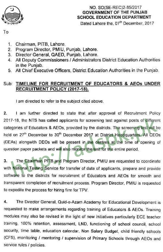 Educators Timelines schedule Recruitment 2017-2018 NTS Test Dated 27 December to 30 December NTS Results will be announced Dated 05-01-2018 Test Passers will be bound to submit applications in their own districts by 21-01-2018 by Punjab School Education Department