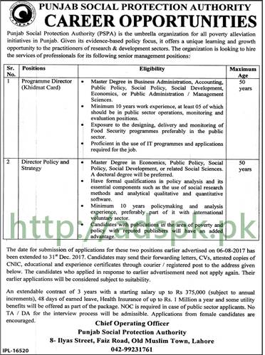 Punjab Social Protection Authority PSPA Lahore Jobs 2017 Program Director Khidmat Card Director Policy & Strategy Jobs Application Deadline 31-12-2017 Apply Now