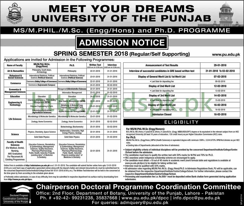 Punjab University Lahore Admissions Open 2018 Regular Self Supporting MS MPhil MSc Engineering Hons PhD Degree Programs Apply Now