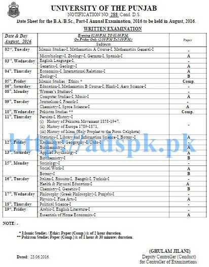 punjab university b.a date sheet 2018 part 1