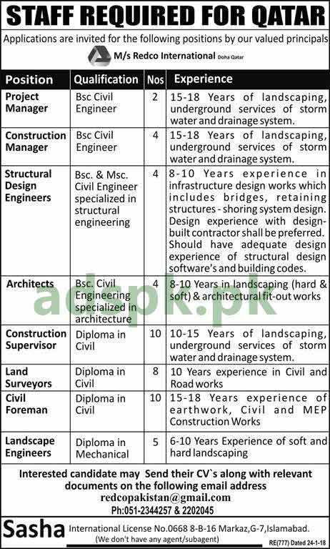 Redco International Doha Qatar Jobs 2018 Project Manager Construction Manager Structural Design Engineers Architects Supervisors Civil Foreman Landscape Engineers Jobs Application Apply Online Now Adspk Pk Very Helpful For Students And