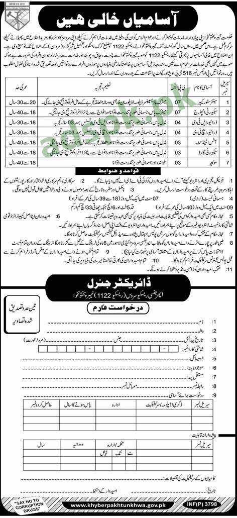 Rescue 1122 PO Box 516 GPO Peshawar KPK Jobs 2018 Senior