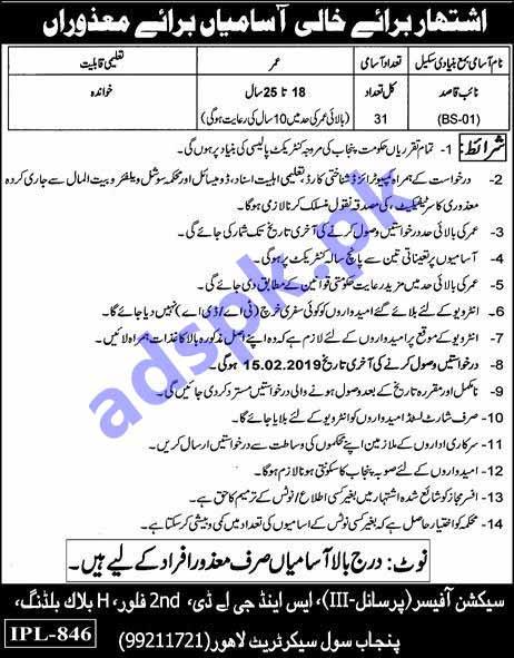 S&GAD Punjab Civil Secretariat Lahore Disable Quota Jobs 2019 for