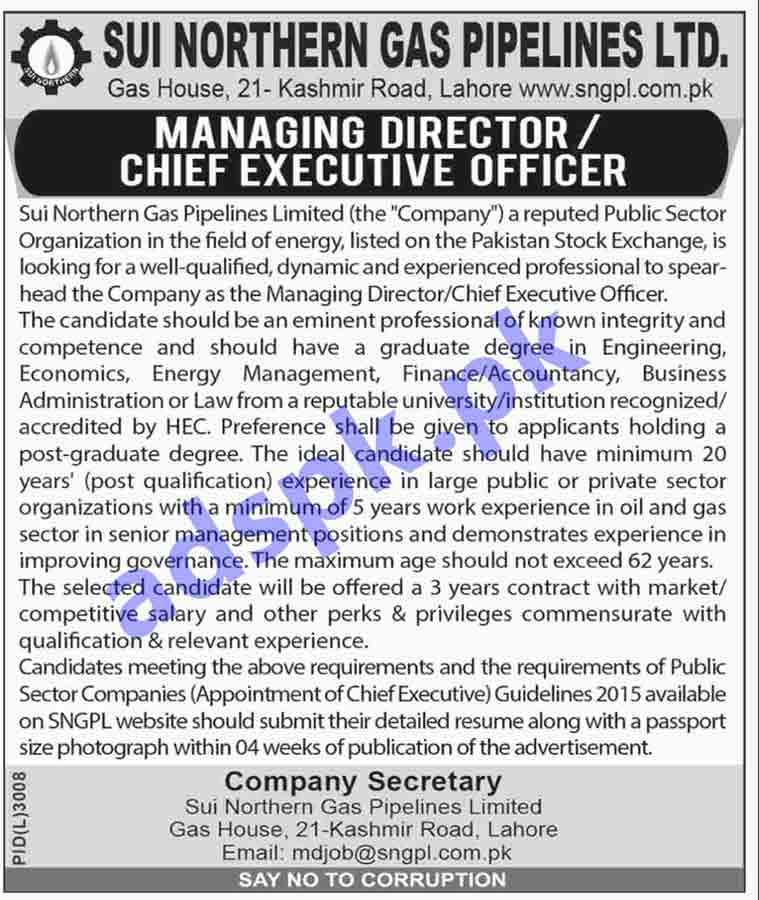 SNGPL Sui Northern Gas Pipe Lines Limited Lahore Jobs 2019 for Managing Director Chief Executive Officer Jobs Application Deadline 23-04-2019 Apply Now