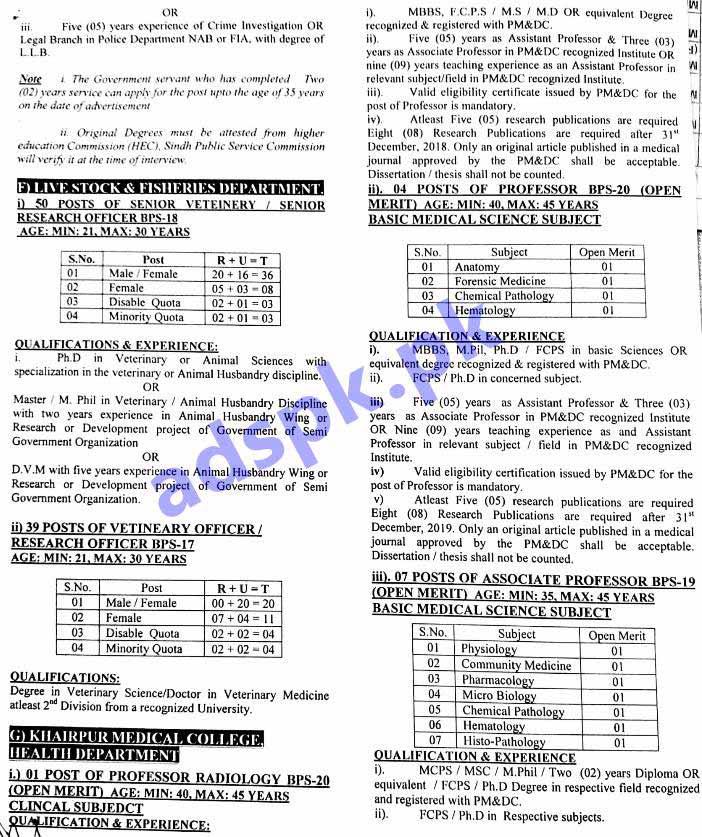 SPSC Ad No  01/2019 Jobs Written Test MCQs Syllabus Paper