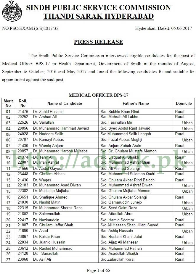 Spsc interview results medical officer mo women medical officer wmo spsc interview results 2017 medical officer mo in health department govt of sindh fandeluxe Image collections