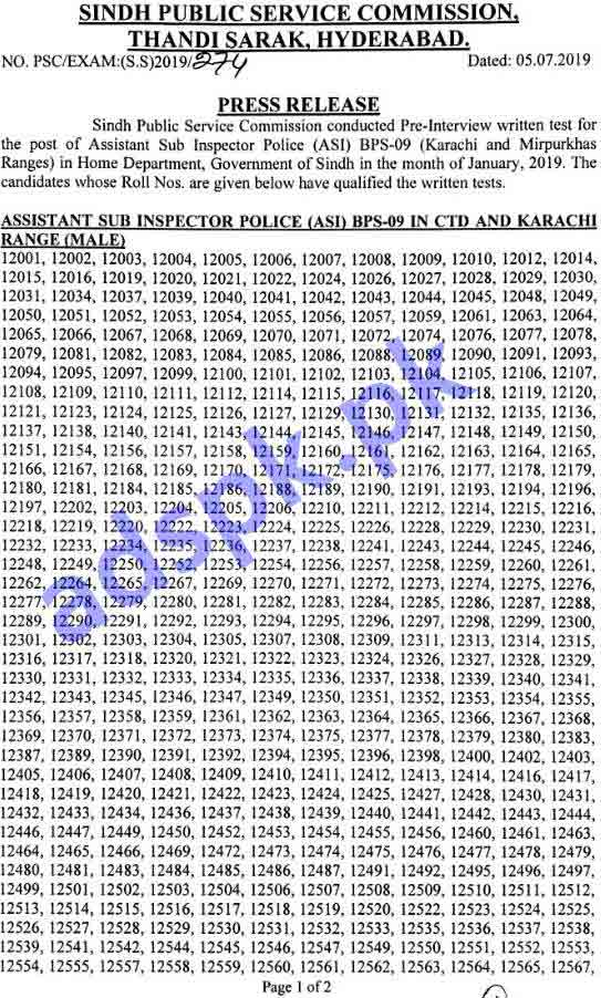 SPSC Pre-Interview Written Test Results 2019 for Assistant Sub