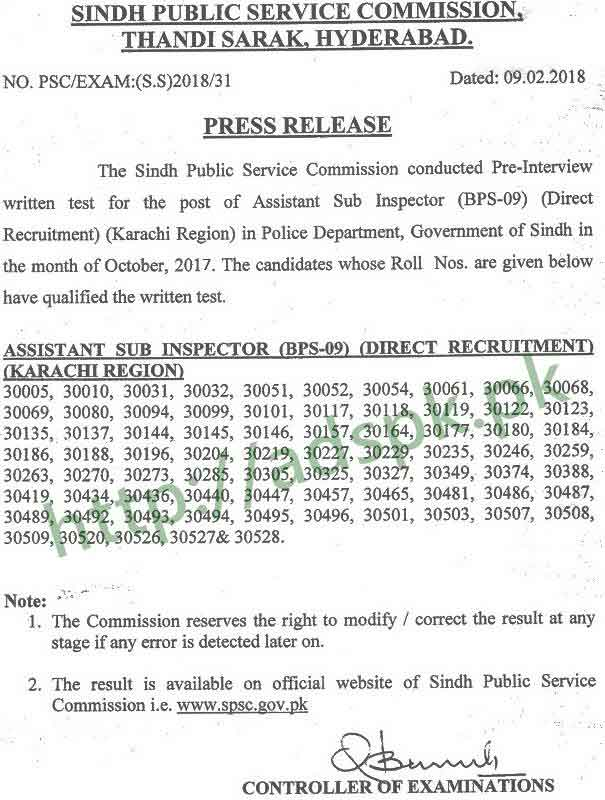SPSC Written Test Results Assistant Sub Inspector Direct