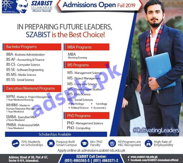 SZABIST Islamabad Fall 2019 Admission Schedule for Bachelor