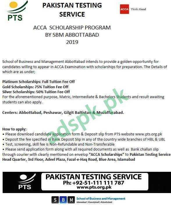 ACCA Scholarship Program 2019 School of Business and Management SBM Abbottabad PTS Written Test MCQs Syllabus Paper for Matric Intermediate & Bachelors Students Application Form Deadline 02-09-2019 Apply Now