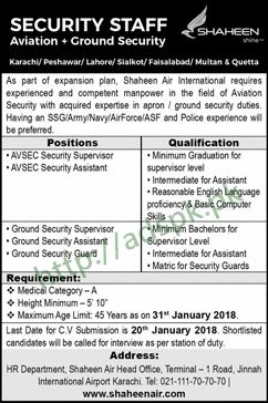 Shaheen Air International Head Office Karachi Jobs 2018 Aviation Ground Security Supervisor Assistant Jobs Application Deadline 20-01-2018 Apply Now