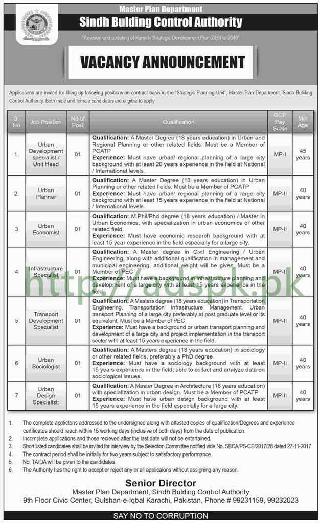 Sindh Building Control Authority Master Plan Department Karachi Jobs 2018 Urban Development Specialist Planner Economist Jobs Application Deadline 29-03-2018 Apply Now