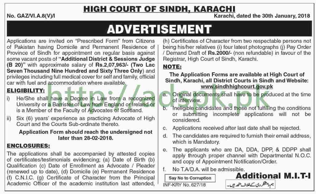 Sindh High Court Karachi Jobs 2018 Additional District & Sessions Judge Jobs Application Form Deadline 28-02-2018 Apply Now