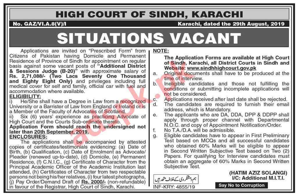 Sindh High Court Karachi Jobs 2019 for Additional District