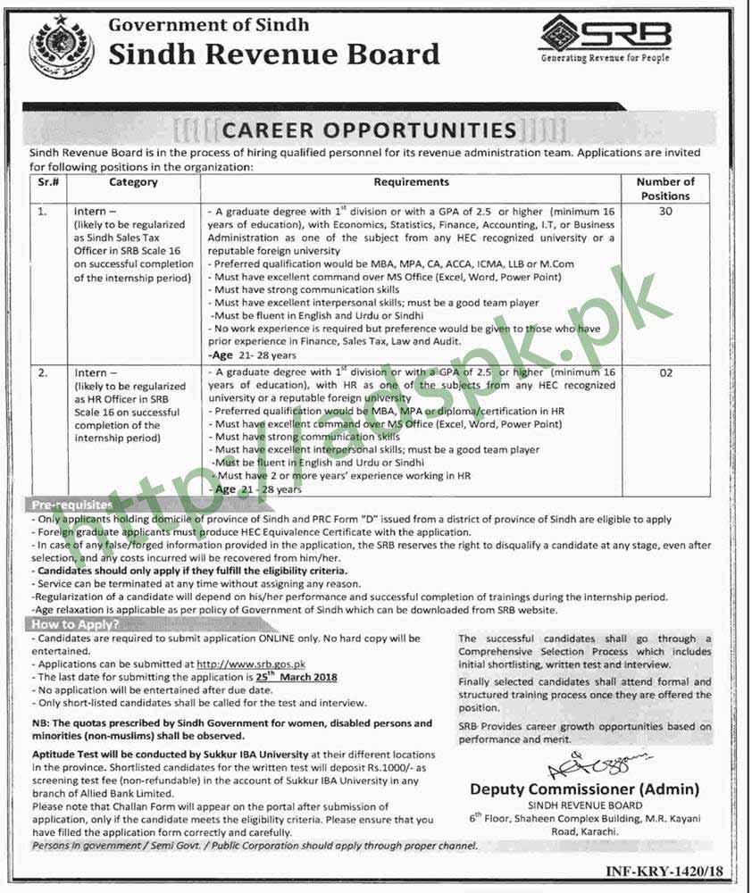 Sindh Revenue Board SRB Internship Jobs 2018 Interns Sindh Sales Tax Officer HR Officer Jobs Application Form Deadline 25-03-2018 Apply Online Now