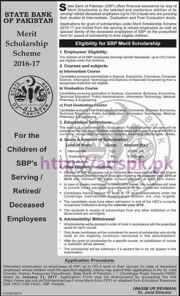State Bank of Pakistan SBP Merit Scholarship Scheme 2017 for SBP ...