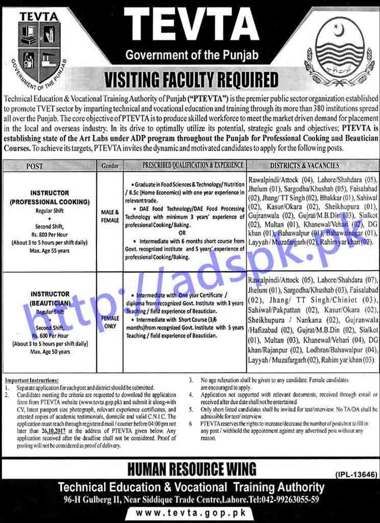 Tevta Job Application Form Pdf