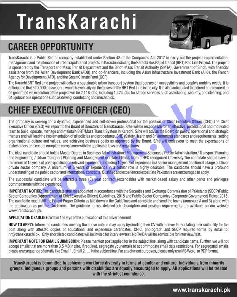 TransKarachi Jobs 2019 for Chief Executive Officer CEO Jobs Application Deadline 29-04-2019 Apply Online Now