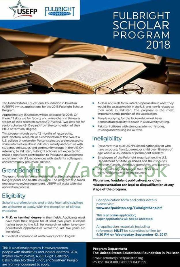 USEFP Fulbright Scholar Program 2018 for PhD Application ...