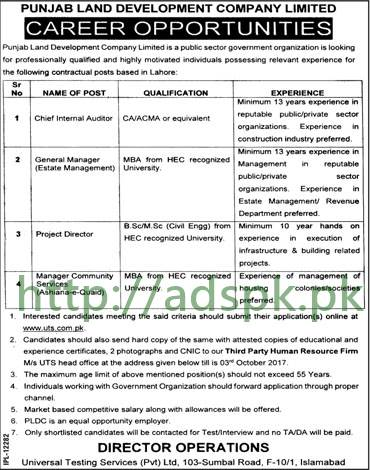 UTS Jobs Punjab Land Development Company Limited PLDC Jobs 2017 UTS Written Test Syllabus MCQs Paper Chief Internal Auditor General Manager Project Director Manager Community Services Jobs Application Form Deadline 03-10-2017 Apply Now by Universal Testing Services