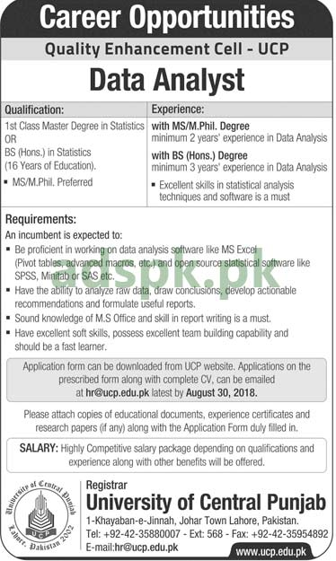 University of Central Punjab Lahore Jobs 2018 Data Analyst