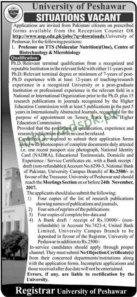 University of UOP Peshawar Jobs 2017 Professor TTS Molecular Nutrition Jobs Application Form Deadline 24-11-2017 Apply Now