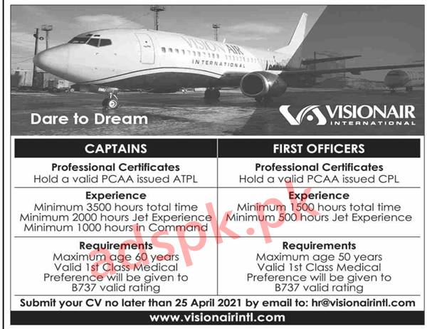 Vision Air Jobs 2021 for Captains & First Officers Jobs CV Deadline 25-04-2021 Send Online Apply Now