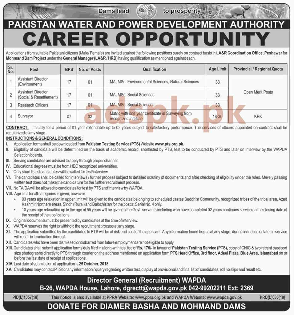 WAPDA Mohmand Dam Hydro Power Project Jobs 2018 PTS Written Test MCQs Syllabus Paper Assistant Directors Research Officer Surveyor Jobs Application Form Deadline 25-10-2018 Apply Now