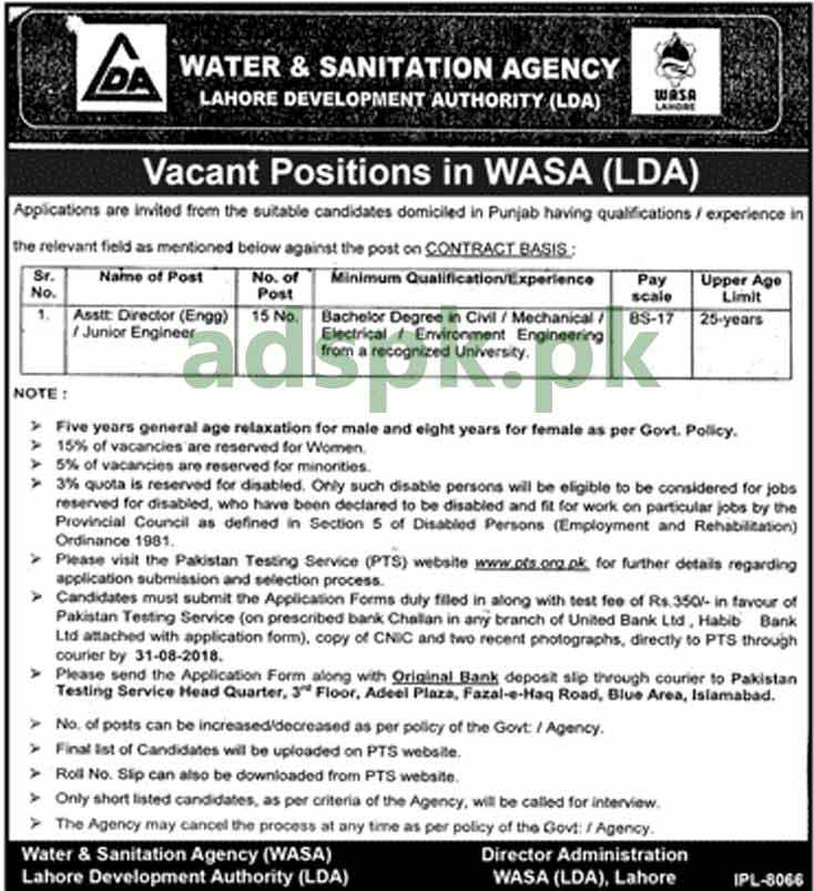 WASA LDA Lahore Jobs 2018 PTS Written Test MCQs Syllabus Paper Assistant Director Engineering Junior Engineer Jobs Application Form Deadline 31-08-2018 Apply Now by Pakistan Testing Service