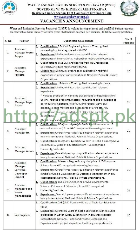 Water and Sanitation Services Peshawar (WSSP) KPK Jobs 2017 ETEA Written MCQs Syllabus Paper Assistant Managers Sub Engineer Billing Recovery Officer HR Officer Fleet Officer Graphic Designer Jobs Application Form Deadline 30-11-2017 Apply Online Now by ETEA