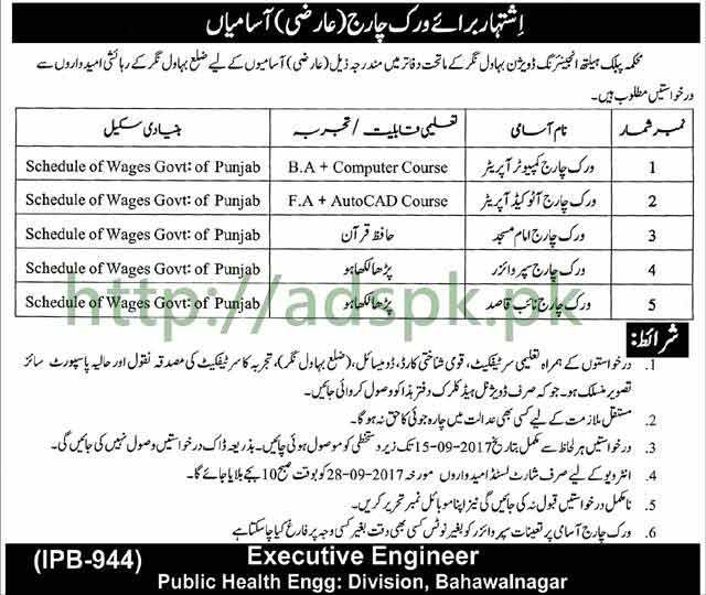 Work Charge Jobs Public Health Engineering Department Bahawalnagar Jobs 2017 Work Charge Computer Operator AutoCAD Operator Imam Masjid Supervisor Naib Qasid Jobs Application Deadline 15-09-2017 Apply Now